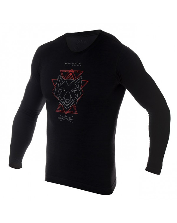 sweaT-shirt thermique homme OUTDOOR WOOL Pro noir