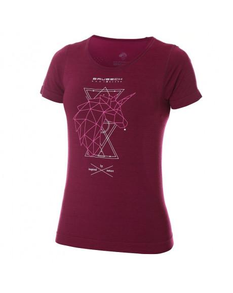 t-shirt thermique Femme OUTDOOR WOOL Pro Bordeaux